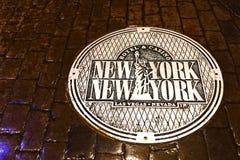 Nowy Jork Nowy Jork manhole pokrywa zdjęcie stock