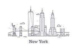 Nowy Jork miasta konturu linia horyzontu, nyc kreskowa sylwetka, usa turysta i podróż wektoru pojęcie, Obrazy Royalty Free