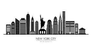 Nowy Jork miasta linia horyzontu sylwetki płaski projekt, wektorowa ilustracja ilustracja wektor