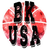 Nowy Jork miasta usa koszykówki sztuka Uliczny grafika styl NYC Moda elegancki druk Szablon odzież, karta, etykietka, plakat spor Obrazy Stock