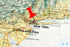 Nowy Jork na mapie z pointerem Zdjęcia Royalty Free