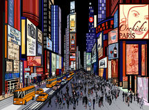 Nowy Jork - nocy times square widok royalty ilustracja