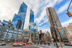 NOWY JORK NOWY JORK, GRUDZIEŃ, - 27, 2013: Nowy Jork central park Kolumb okrąg christopher Columbus pomnik Atutowy wierza Zdjęcie Stock