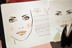 NOWY JORK, NY - LISTOPAD 13: Widok atmosfery i makijażu instrukcje zakulisowe przy 2013 Victoria's Secret Fasonuje Obrazy Stock