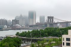 Nowy Jork NY, usa,/- JUN 01 2018: Lower Manhattan linia horyzontu na f Fotografia Stock