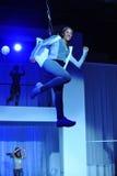 NOWY JORK, NY - WRZESIEŃ 03: Modele wykonują podczas Athleta pasa startowego przedstawienia Obrazy Stock