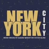 nowy Jork NYC Rocznik odzieży typografia również zwrócić corel ilustracji wektora Obrazy Royalty Free