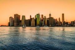Nowy Jork pejzaż miejski przy zmierzchem Obrazy Stock