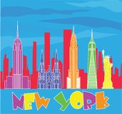 Nowy Jork podr??y i literowania kolorowe ikony na niebieskiego nieba tle Podr??y poczt?wka ilustracji