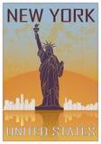 Nowy Jork rocznika plakat ilustracji