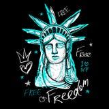 Nowy Jork, t koszulowy projekt, plakat, druk, statuy wolności literowanie, mapa, trójnik koszulowe grafika, modny, suchy szczotka ilustracja wektor