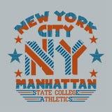 Nowy Jork typografia, koszulka Manhattan, projekt grafika royalty ilustracja