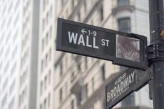 NOWY JORK - usa giełdy papierów wartościowych ścienny uliczny znak Obrazy Stock