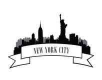 Nowy Jork, usa linii horyzontu nakreślenie NYC miasta sylwetka z swobodą m Zdjęcia Stock