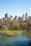 NOWY JORK, USA - LISTOPAD 23: Manhattan linia horyzontu z central park Zdjęcie Stock