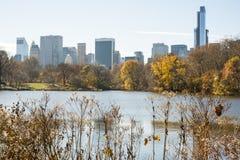 NOWY JORK, USA - LISTOPAD 23: Manhattan linia horyzontu z central park Zdjęcia Stock