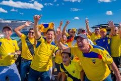 NOWY JORK, usa - LISTOPAD 22, 2016: Niezidentyfikowany ecuadorian wachluje świętować zwycięstwo Ekwador na zewnątrz Metlife Fotografia Royalty Free