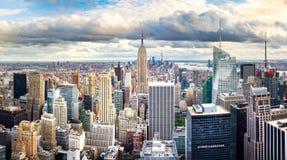 NOWY JORK, usa - Maj 8, 2017: Manhattan linii horyzontu panoramicznego widoku wi Zdjęcia Royalty Free