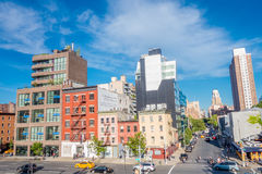 NOWY JORK, usa - MAJ 05, 2017: Piękny widok Manhattan miasto z drapaczami chmur, drogami i wspaniałymi budynkami w Nowym, Fotografia Stock