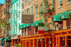 NOWY JORK, usa - MAJ 05, 2017: Ulicy Manhattan Nowy Jork i Mały Włochy teren w Nowy Jork Usa specyficznie Obrazy Stock