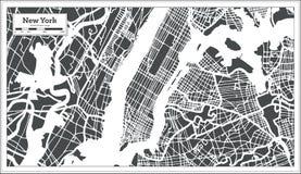 Nowy Jork usa miasta mapa w Retro stylu Czarny i biały wektorowa ilustracja ilustracji