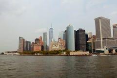 NOWY JORK, usa - Sierpień 31, 2018: Pejzażu miejskiego widok lower manhattan jak widzieć od helikopteru, Miasto Nowy Jork, usa zdjęcia royalty free