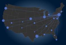 Nowy Jork ześrodkowywał usa mapę Obraz Royalty Free