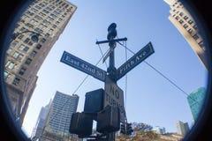 Nowy Jork znak uliczny przez rybiego oka obiektywu Fotografia Royalty Free