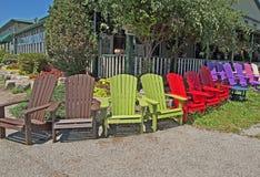 Nowy kolorowy Poli- żywicy krzesło ogrodowe Fotografia Stock