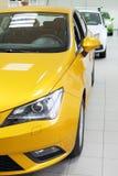 Nowy koloru żółtego, białego i zielonego olśniewający samochodu stojak w biurze, Zdjęcie Royalty Free