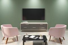 Nowy lekki wnętrze z pustym TV Obraz Stock