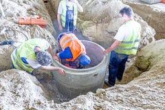 Nowy manhole jest w budowie Fotografia Stock