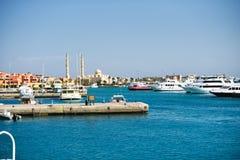 Nowy marina zatoki widok od morza, Egypt, hurghada Zdjęcia Royalty Free