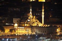 Nowy Meczetowy Yeni Cami przy nocą Istanbuł, Turcja Fotografia Royalty Free