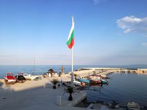 Nowy molo, cumujący dla jachtów i łodzi w Pomorie, Bułgaria Obrazy Royalty Free