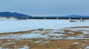 Nowy most nad rzecznym Barguzin Zdjęcia Royalty Free