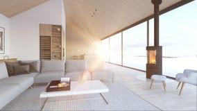 Nowy nowożytny scandinavian loft mieszkanie świadczenia 3 d zbiory wideo