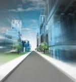Nowy nowożytny unaocznienie miasto ulica przyszłość w ruch plamie Zdjęcie Stock