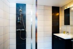Nowy nowożytny wc z douche w mieszkaniu zdjęcia royalty free