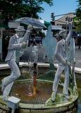 Nowy Orlean dzielnicy francuskiej korowodu Jazzowa fontanna Fotografia Stock