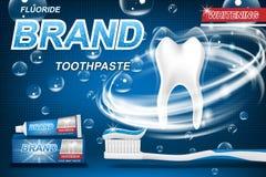 Nowy pasty do zębów pojęcie, odizolowywający na błękicie Zębu model i produktu pakunku projekt dla pasty do zębów reklamy lub pla zdjęcia royalty free