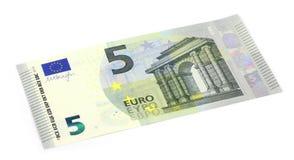 Nowy pięć euro banknot Zdjęcie Royalty Free