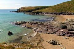 Nowy Polzeath plaży Cornwall wybrzeże Anglia Zjednoczone Królestwo. obrazy royalty free
