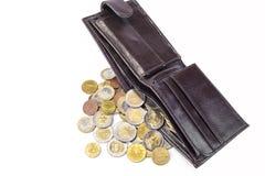 Nowy portfel pełno euro monety na białym tle Fotografia Stock