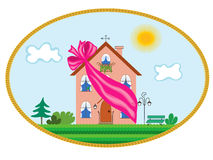 nowy prezenta piękny dom ilustracja wektor