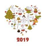 2019 nowy rok świętowanie, symbolu królika charakter dekoruje bałwanu ilustracji