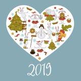 2019 nowy rok świętowanie, symbolu królika charakter dekoruje bałwanu wektor royalty ilustracja