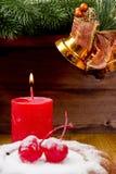 Nowy Rok świeczka z Bożenarodzeniowym puddingiem Obraz Stock