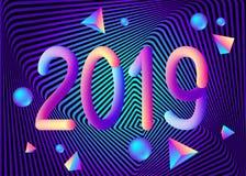 2019 nowy rok abstrakcjonistyczny geometryczny tło z kolorowym 3d ilustracja wektor