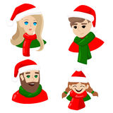 Nowy Rok avatars dla ogólnospołecznych sieci Ludzie w Święty Mikołaj nakrętek dziewczyny facecie obsługują Wesoło boże narodzenia ilustracja wektor